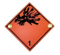 Gefahrenschild Klasse 1 explosiv mit Ösen