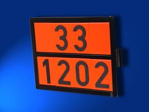 Einstofftafel für Tankfahrzeuge und Kesselwagen